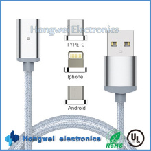 3 in 1sync Charging Data Magnetic USB Cable with LED Light for Type C Android and for iPhone