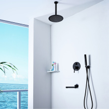 Hot Cold Round Black Bath Shower Faucet Set