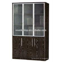 Três portas prateleira de livro de carvalho escuro para escritório usado, mobiliário de escritório comercial (KB843)