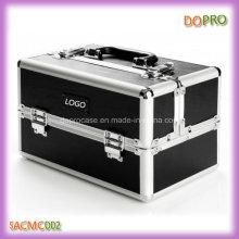 Solide noir étui cosmétique en cuir PU professionnel (SACMC002)