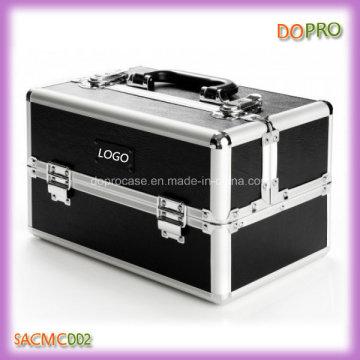 Sólido preto mate PU couro cosméticos caso profissional (sacm0000)
