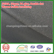 "56gsm PA glue 60"" width black color woven fusible interlining"