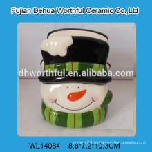 Bonito muñeco de nieve en forma de titular de servilleta de cerámica