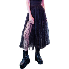 2021 gothic skirt Special OPQ-775BQF New Desing Custom Button Fly Pockets Solid black high waist long Skirt For Women
