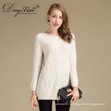 Женская мода Весна одежда Белый кашемир трикотажные о-образным свитер