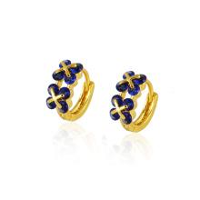 22677 moda popular azul oscuro CZ diamante joyería de imitación pendiente Huggies en 14k chapado en oro