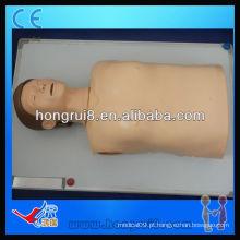 Manequim de CPR de meio-corpo de computador avançado ISO, manequim de treino de primeiros socorros
