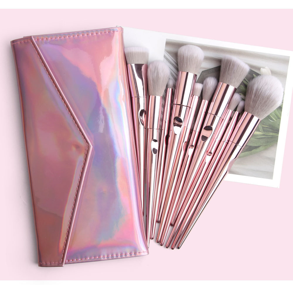 10 Piece Rose Gold Makeup Brushes Set 5