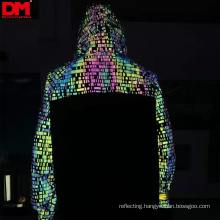 high light durable reflective printing rainbow fabric , reflective fabric for clothing