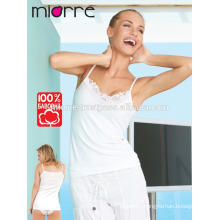 MIORRE WOMEN TANK TOP WITH GUIPURE AND THIN STRAP %100 COTTON