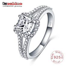 925 Sterling Silver Inlay Square Zircon Engagement Ring (SRI0004-B)