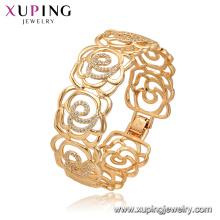 52165 Joyería de Xuping China al por mayor brazalete de lujo plateado oro de la forma del estilo de la flor para las mujeres