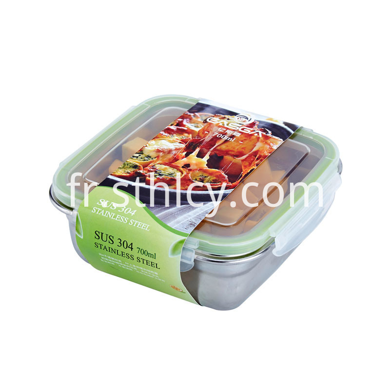 Stainless Steel Square Crisper With Lid
