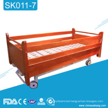SK011-7 Cheap Hospital Wooden Manual Bed With Siderail
