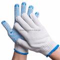 Bulk Custom Logo Design Polka Blue Cotton Knitted with Palm PVC Dotted Garden Work Hand Gloves Price