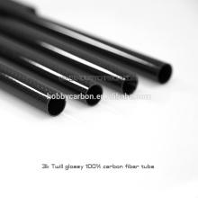 Cnc matte de superfície leve sarapilado tecido do tubo da fibra do carbono da sarja 3k que corta 500mm 600mm 1000mm