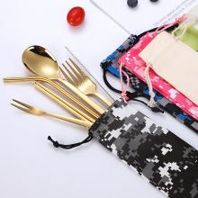 Conjunto de saco de pano talheres de palha de metal conjunto talheres
