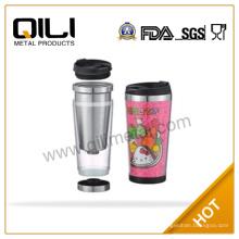 Eco amigable plástico café taza taza de acero inoxidable