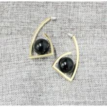 Simple and Elegant Black Stone Ball Geometric Earring
