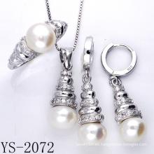 La joyería de imitación 925 joyería de la perla de la plata esterlina fija.