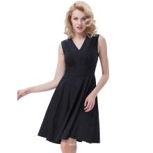 Belle Poque Normallack Retro Vintage Sleeveless V-Ausschnitt A-Linie Schwarz Einteiliges 50s 60s Swing Kleid BP000384-1