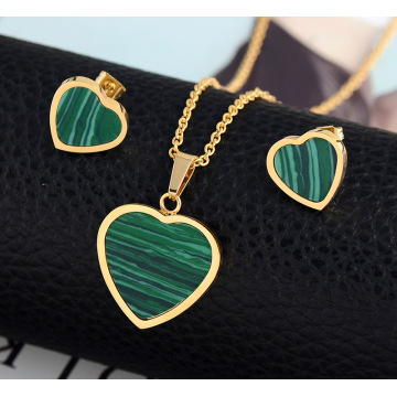 Mode Malachite Heart Shape Perhiasan Pernikahan Set