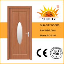 Interior PVC MDF Door with Glass Design (SC-P167)