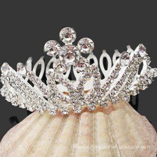 trendy hair accessories silver plated crystal crown hair barrette comb