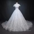 Vestido de novia de lujo de manga corta con cuentas de lujo blanco vestido de novia 2018 con cola grande
