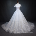 Luxury white heavy beaded short sleeve wedding dress bridal gown 2018 with big tail