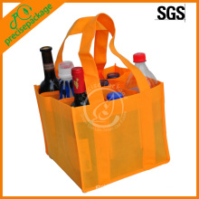 barato bolso no tejido anaranjado de la botella de vino del eco