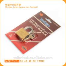 High Security Golden Color Vane Key Square Iron Padlock
