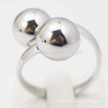 Custom Women Jewelry Metal Silver Two Ball Finger Ring