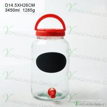 Bouteille en verre de 3000 ml avec robinet avec carte noire
