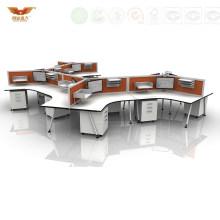 Curved Design Modern Wooden Office Workstation Panel System (H50-253)