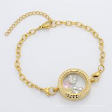Прекрасный стиль красивый женщин золотой стекло с плавающей очарование медальон браслет-цепочка