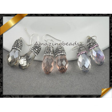 Bijoux de mode de luxe Drop Glass Sterling 925 Boucles d'oreilles en argent Boucles d'oreilles en cristal autrichien (FE078)
