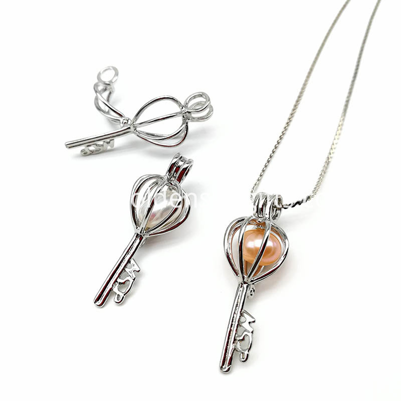 Key Hollow Cage Pendant Necklace Jewelry
