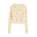 Fashion Embroidery Patches Short Sweater Women Elegant