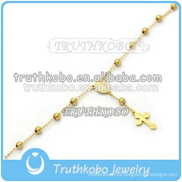 3 mm Virgen María rosario abalorios pulsera hecha a mano religiosa pulsera del encanto del grano