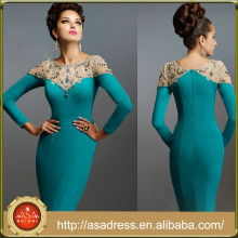 JQ05 High Neck Long Sleeve Beaded Mother of the Bride Gowns Sheath Teal Knee Length Godmother Dress Plus Size