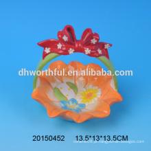 Cesta de armazenamento de ovos de Páscoa portátil de cerâmica para promoção