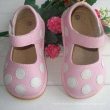 Rosa mit weißen Dots Baby Squeaky Schuhe 7 Farben
