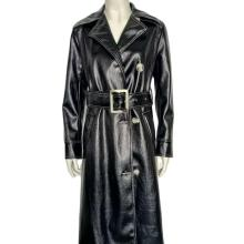 New Autumn Black Long Belt  PU Jacket