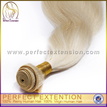 Long lasting blond virgin Russian hair type hair extensions