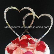 Rhinestone Doube Heart Wedding Cake Topper for Cake Decoration