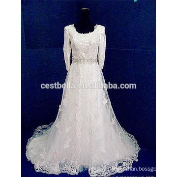 Свадебное платье с длинным рукавом кружева мусульманин свадебное платье 2016