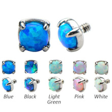 3mm 4mm 5mm Prong Set Synthetic Fire Opal Dermal Anchor Top