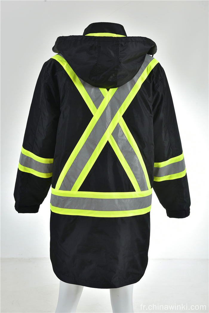 Hi Vis Class 3 Hooded Bomber Veste de sécurité d'hiver Reflective Waterproof