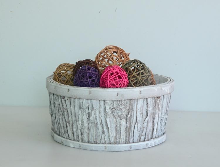 Round wash white wood bark handicarft flower basket-3